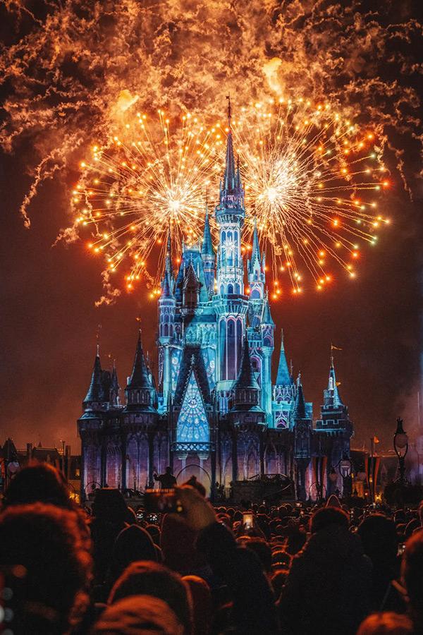 Photo de nuit du château Disneyland Paris
